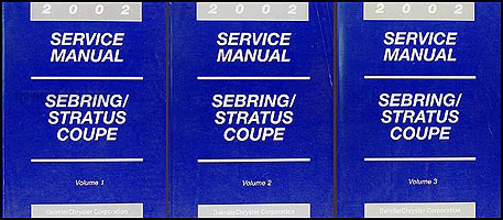 2002 Sebring & Stratus Coupe Shop Manual Original 3 Volume Set