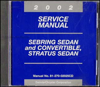 2002 CD Sebring & Stratus Sedan & Convertible Shop Manual Original