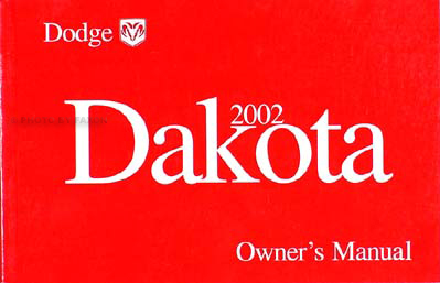 2002 Dodge Dakota Pickup Truck Original Owner's Manual