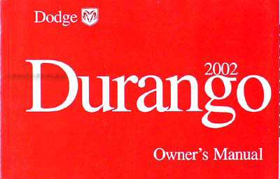 2002 Dodge Durango Original Owner's Manual
