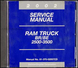 2002 Dodge Ram 2500-3500 Truck CD-ROM Shop Manual Original