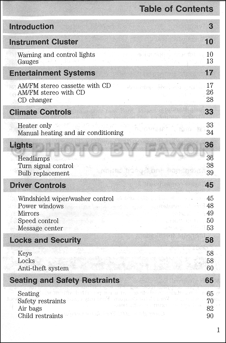 2002 Ford Super Duty Owner's Manual Original F250 F350 F450 F550 · Table of  Contents Page 1