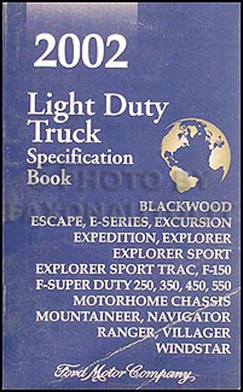 2002 Ford Truck SUV and Van Service Specifications Book Original
