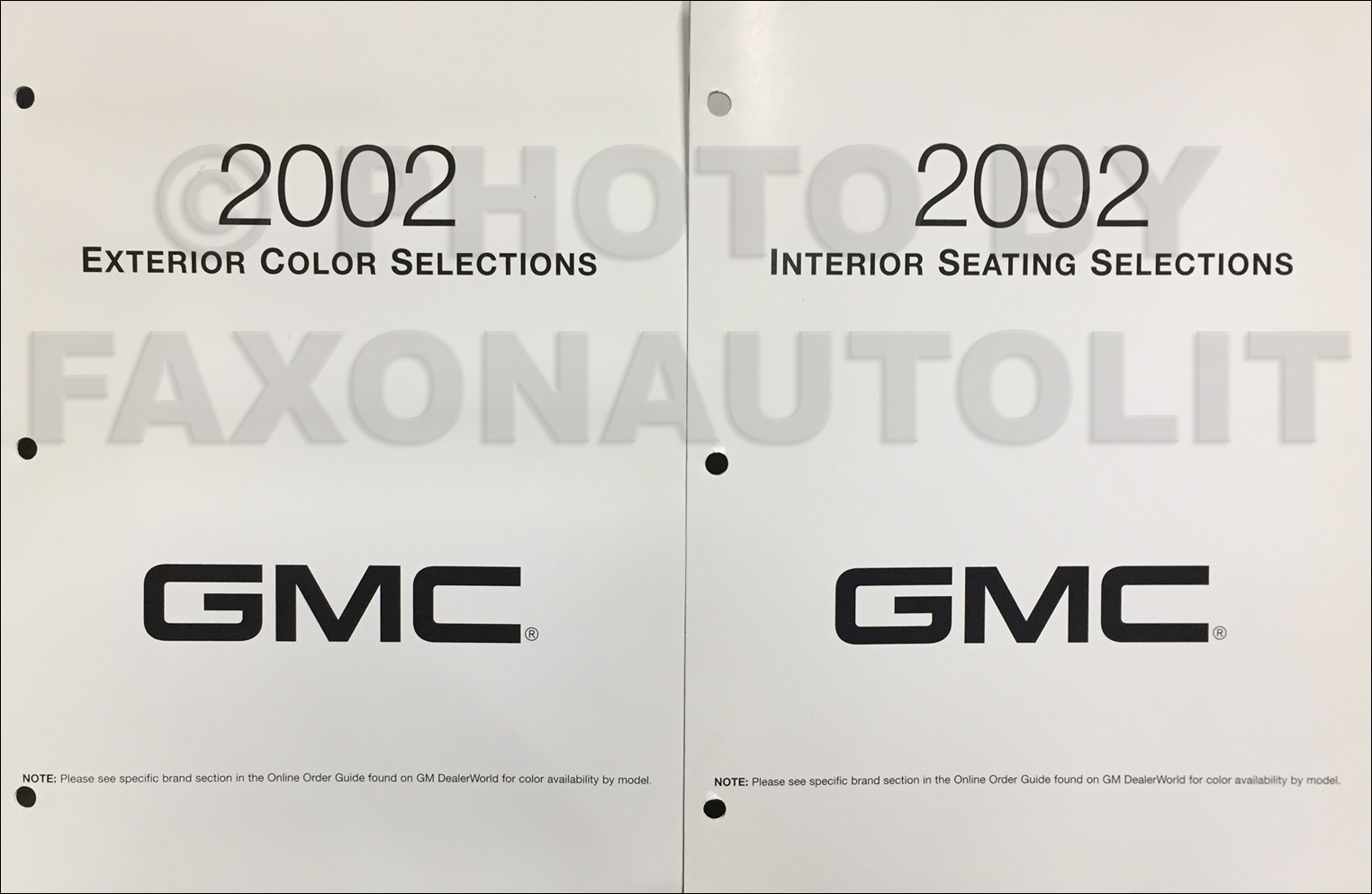 2002 GMC Color & Upholstery Folder Set Original