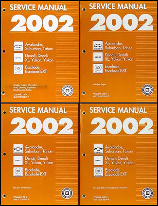 2002 CK8 SUV Repair Manual Set Avalanche Suburban Tahoe Denali Yukon, XL Escalade, EXT
