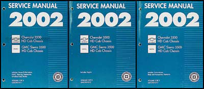 2002 CK 3500 HD Chassis Cab Repair Manual Original 3 Volume Set