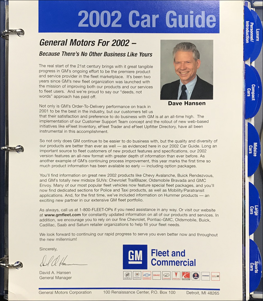 2002 GM Fleet Buyer's Guide Dealer Album Original