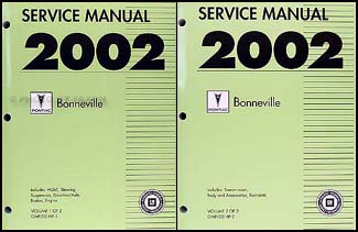 2002 Pontiac Bonneville Repair Manual Original 2 Volume Set