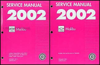 2002 Malibu Repair Manual Original 2 Volume Set