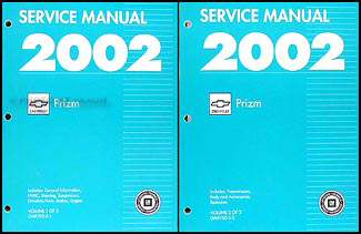 2002 Chevy/Geo Prizm Repair Manual Original 2 Volume Set