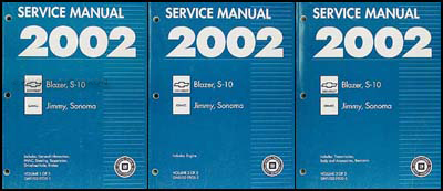 2002 S-10, Sonoma, Jimmy, Blazer Repair Manual Original 3 Volume Set