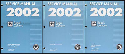 2002 Buick Regal & Century Repair Manual Original 3 Volume Set