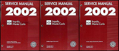 2002 Impala & Monte Carlo Repair Manual Original 3 Volume Set