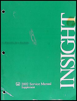 2002 Honda Insight Hybrid Repair Manual Original Supplement