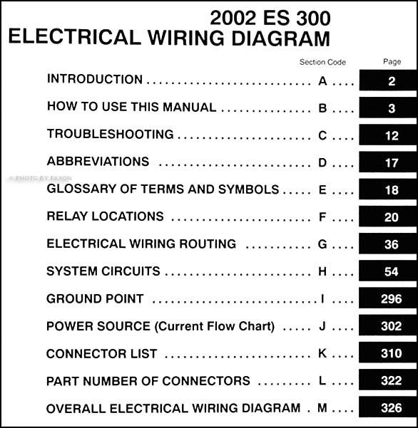 2002 Lexus ES 300 Wiring Diagram Manual OriginalFaxon Auto Literature