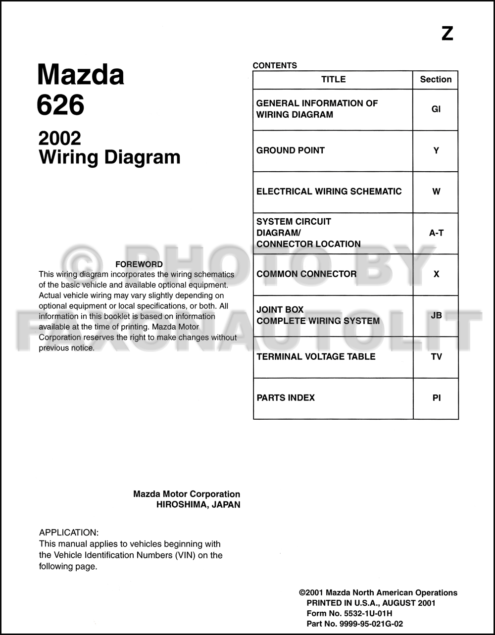 2002 mazda 626 wiring diagram manual original rh faxonautoliterature com  mazda 626 distributor wiring diagram mazda