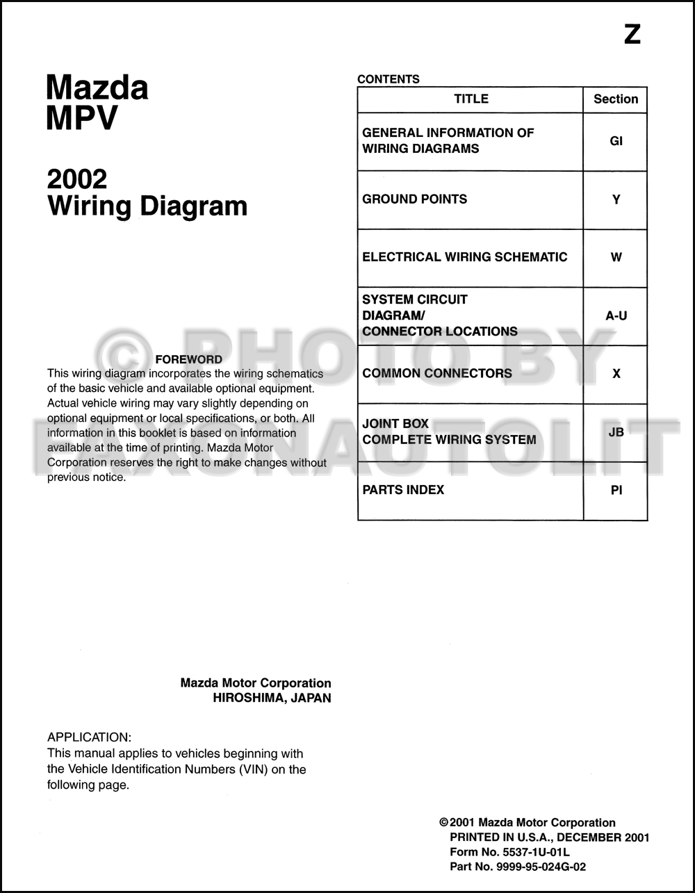 2002 Mazda MPV Wiring Diagram Manual Original. click on thumbnail to zoom