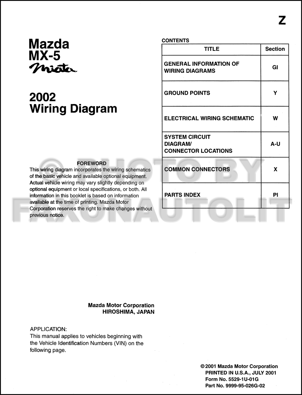2002 Mazda MX-5 Miata Wiring Diagram Manual Original. click on thumbnail to  zoom
