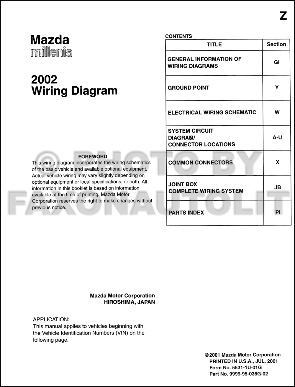 2002 Mazda Millenia Wiring Diagram Manual Original. click on thumbnail to  zoom