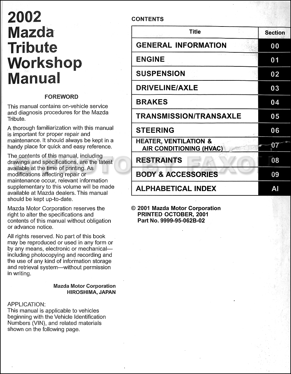2003 Mazda Tribute Repair Manual Original · Table of Contents