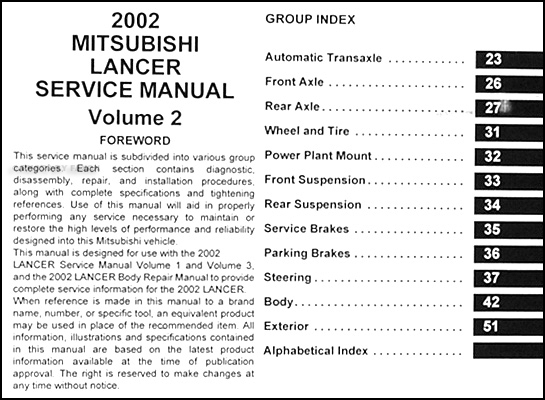 2002 mitsubishi lancer repair shop manual original 3 vol set rh faxonautoliterature com 2002 mitsubishi lancer oz rally repair manual mitsubishi lancer 2002 repair manual free download