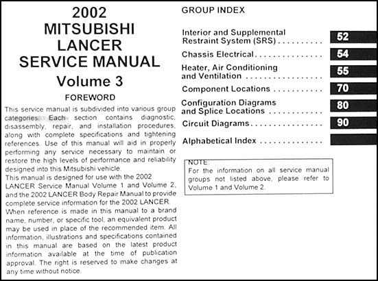 2002 mitsubishi lancer oz rally owners manual