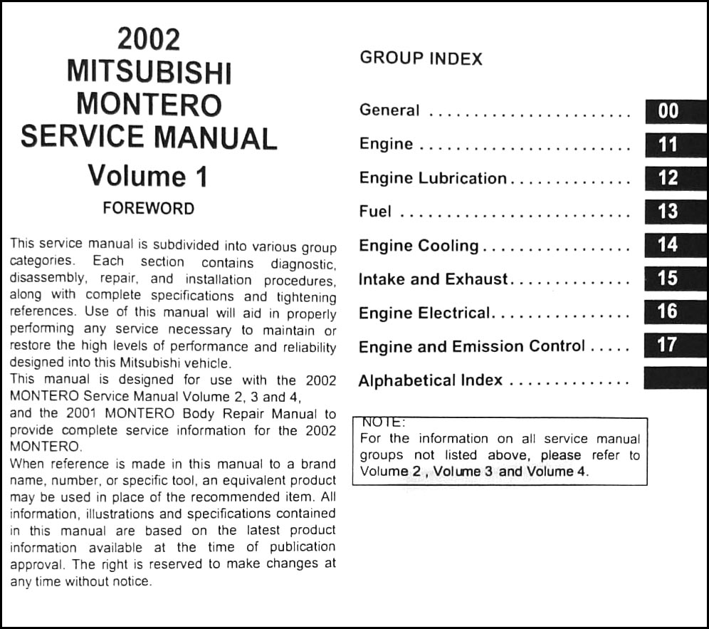 2002 Mitsubishi Montero Repair Manual Original Set · Table of Contents Page  1