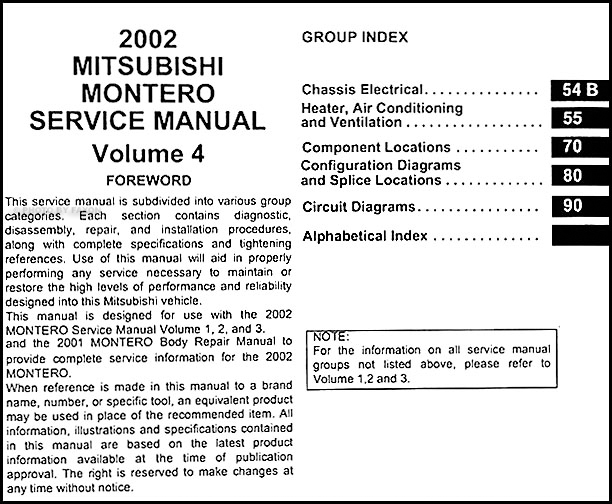 Mitsubishi montero sport service repair manual 1999 2000 2001 2002.