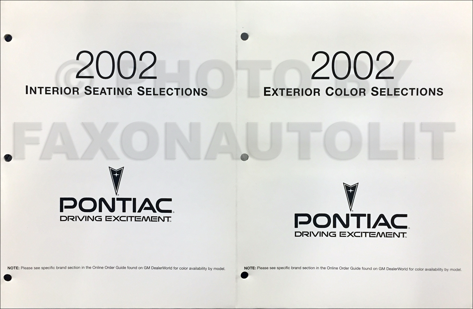 2002 Pontiac Color & Upholstery Folder Set Original