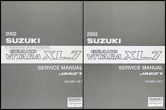 2002 Suzuki Grand Vitara & XL-7 Repair Manual 2 Volume Set Original