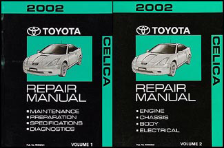 2002 Toyota Celica Repair Manual 2 Volume Set Original