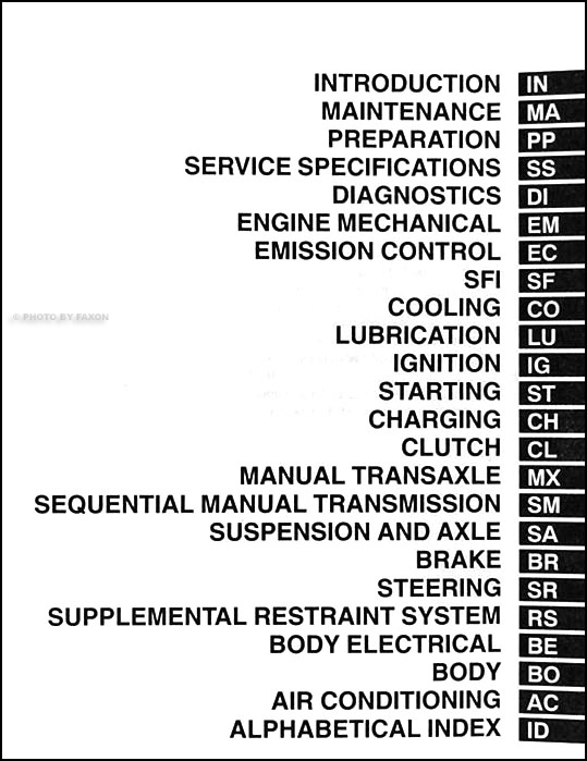 2002ToyotaMR2ORM TOC 2002 toyota mr2 spyder repair shop manual original