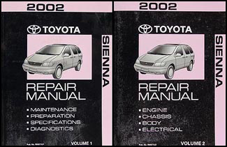 2002 Toyota Sienna Repair Manual 2 Volume  Set Original