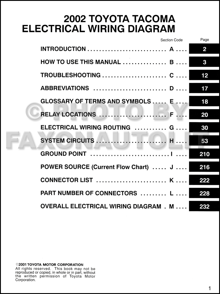 2002 Toyota Tacoma Pickup Wiring Diagram Manual Original on 02 hyundai accent wiring diagram, 02 gmc sierra wiring diagram, 02 ford f350 wiring diagram, 02 dodge ram 2500 wiring diagram,