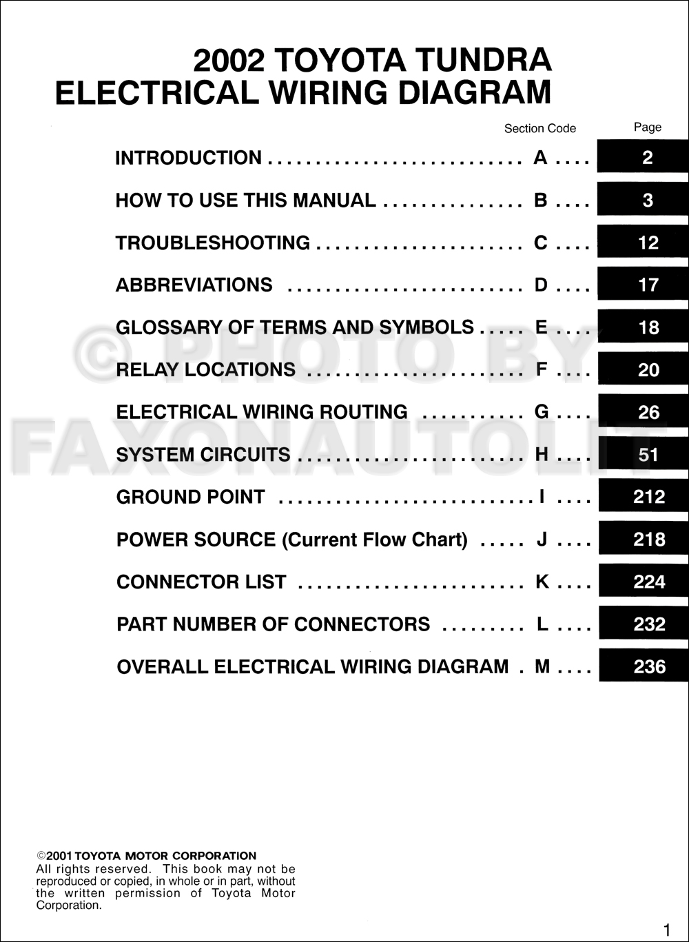 2002 Toyota Tundra Wiring Diagram Manual Original
