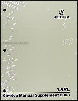 2003 Acura 3.5 RL Shop Manual Original Supplement