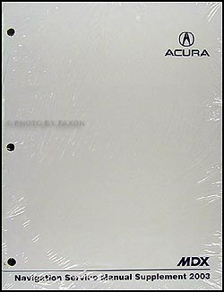 2003 Acura MDX Navigation Shop Manual Supplement Original