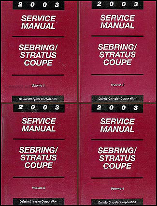 2003 Sebring & Stratus Coupe Shop Manual Original 4 Volume Set