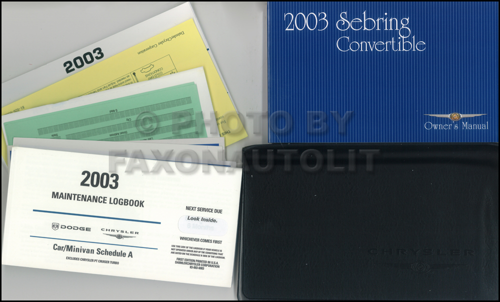 2003 Chrysler Sebring Convertible Owner's Manual Package