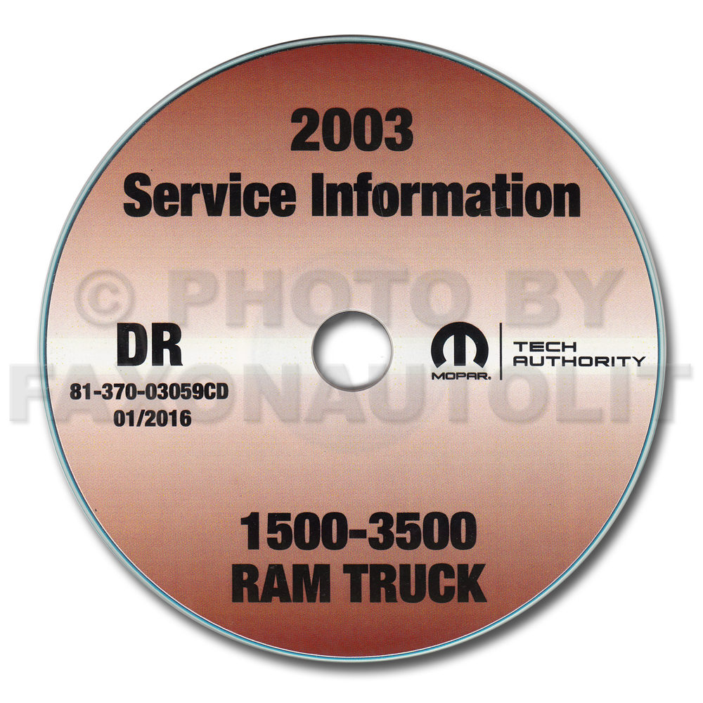 2003 Dodge Ram 1500-3500 Truck Shop Manual CD-ROM Original
