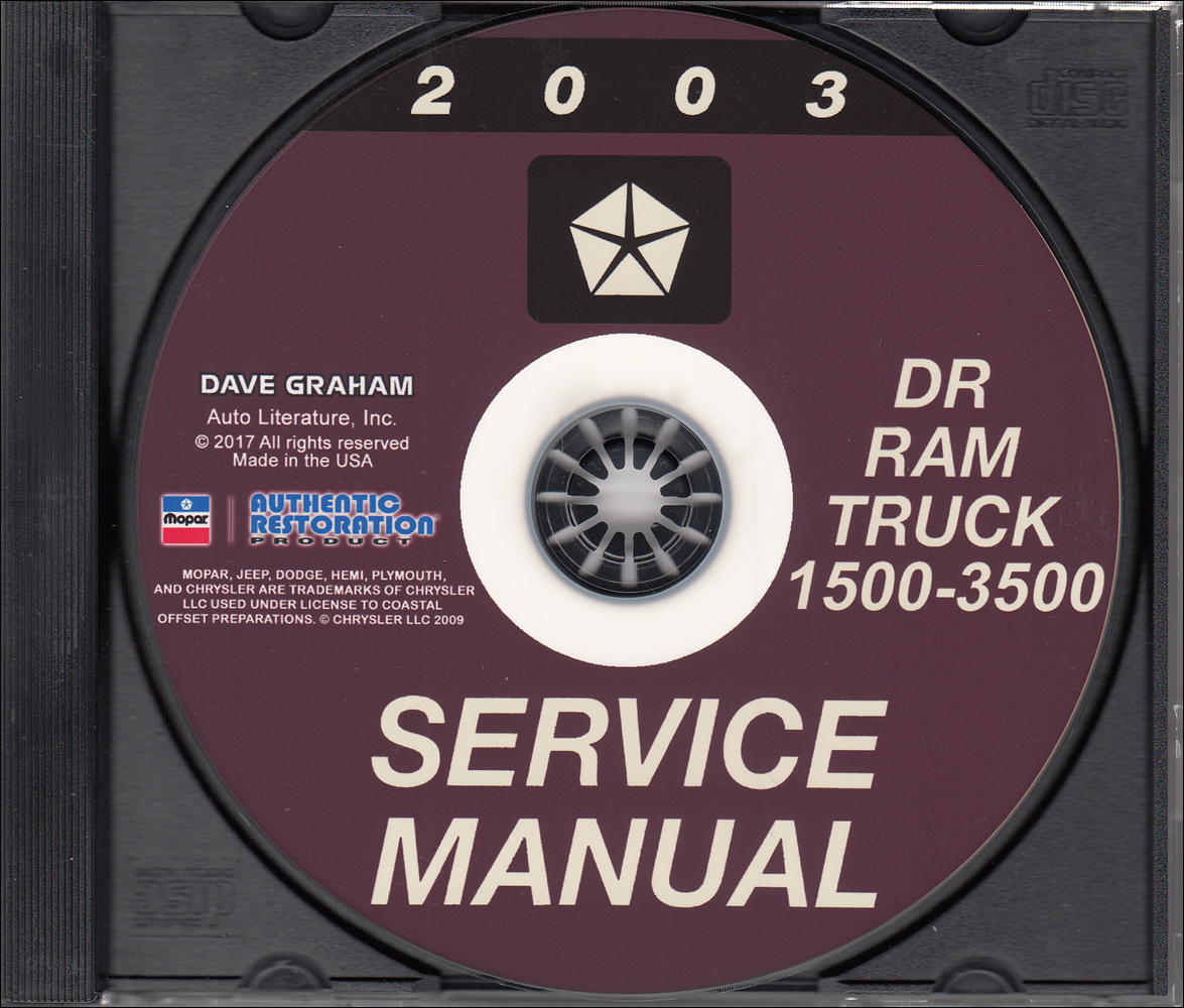 2003 Dodge Ram 1500-3500 Truck Repair Shop Manual CD-ROM Reproduction