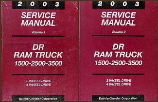 2003 Dodge Ram 1500-3500 Truck Repair Shop Manual Original 2 Volume Set