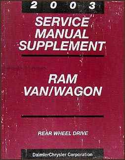 2003 Dodge Ram Van & Wagon CD-ROM Shop Manual Original