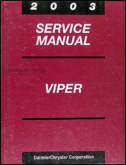 2003 Dodge Viper Repair Manual Original