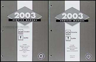 2003 Cavalier & Sunfire Repair Manual Original 2 Volume Set