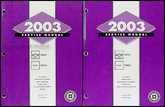 2003 Astro and Safari Repair Manual 2 Volume Set Original