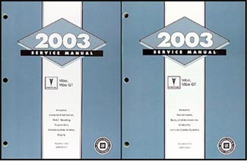 2003 Pontiac Vibe, Vibe GT Repair Manual Original 2 Volume Set