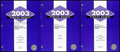2003 Impala & Monte Carlo Repair Manual Original 3 Volume Set