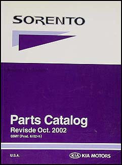 2003 Kia Sorento Parts Book Original