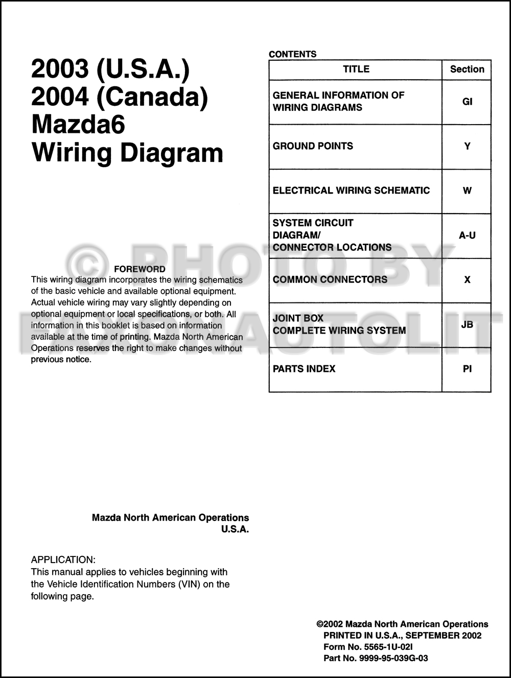 2003 Mazda Mpv Wiring Diagram Library Mazda6 Original And 2004 Canada 6 Rh Faxonautoliterature Com 2000